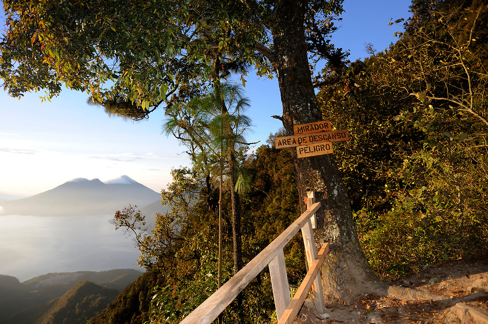 Volcan Toliman, 3153m, and, behind it,  Volcan Atltlan, 3525m across Lake Atitlan from a view point in the Parque Ecologico Regional Chuirxmola above Panajachel. Volcan San Pedro is hidden by the cloud forest trees on the right. Parque Ecologico Regional Chuirxmola, Panajachel, Republic of Guatemala. 07Mar14.