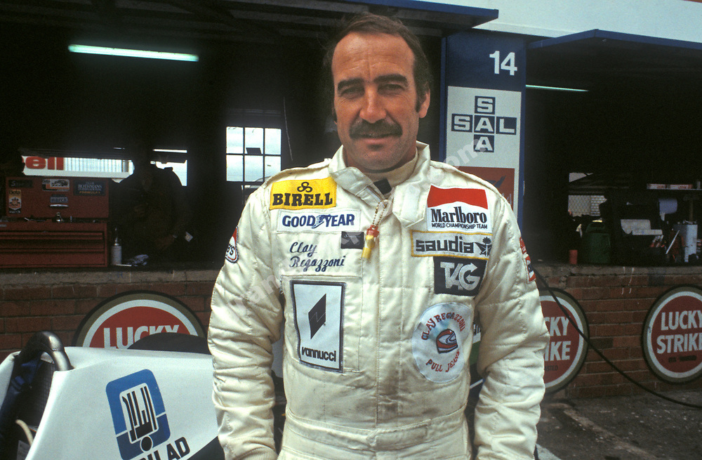 Williams-Ford driver Clay Regazzoni in the pits before the 1979 South African Grand Prix in Kyalami. Photo: Grand Prix Photo