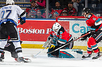 KELOWNA, BC - MARCH 11: Roman Basran #30 of the Kelowna Rockets makes a save against the Victoria Royals at Prospera Place on March 11, 2020 in Kelowna, Canada. (Photo by Marissa Baecker/Shoot the Breeze)
