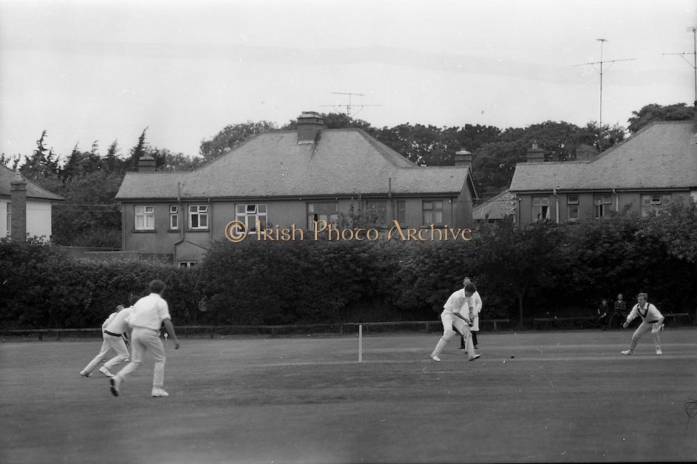 18/07/1970<br /> 07/18/1970<br /> 18 July 1970<br /> Cricket: Clontarf 1st XI v Old Belvedere, Leinster Senior Cup Final at Clontarf Cricket Club, Castle Avenue, Dublin. Frank O'Hanlon (centre), Old Belvedere, batting.
