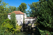 Picturesque traditional Moulin de Loubens, 19th Century water mill, in Gironde, France