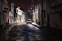 CAMAGUEY, CUBA - CIRCA JANUARY 2020: Street of Camaguey at Night