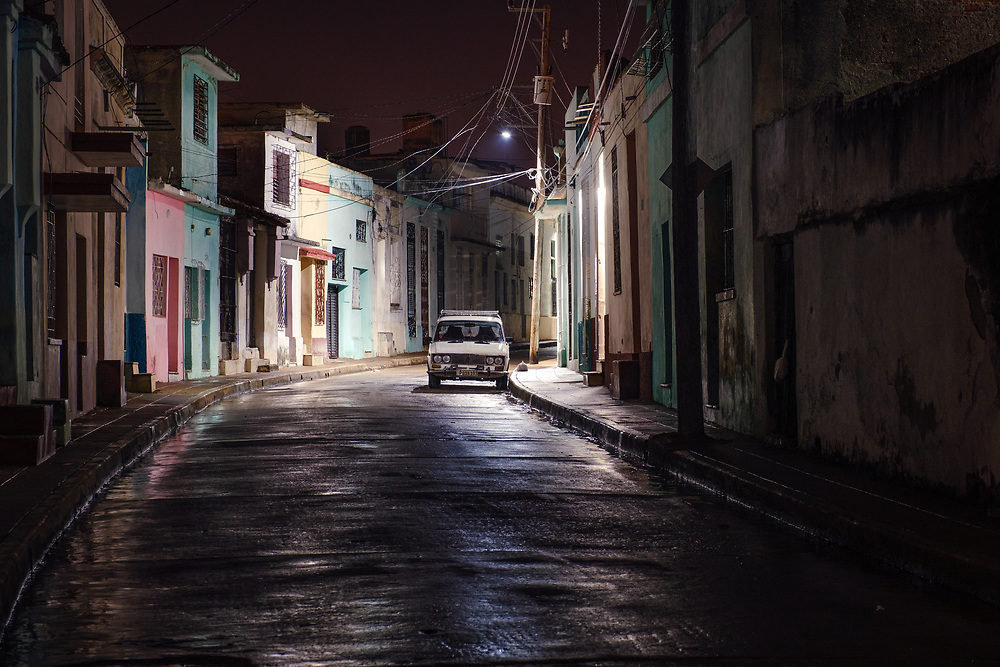 CAMAGUEY, CUBA - CIRCA JANUARY 2020: Street of Camaguey at Night