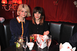 Left to right, PIXIE GELDOF and ALEXA CHUNG at Tunnel of Love - a fashion & art party in aid of The British Heart Foundation held at The Proud Gallery, Camden, London on 29th May 2012.