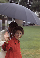 First Lady Nancy Reagan waving at an event on the South Lawn of the White House in september 1981...Photograph by Dennis Brack bb23