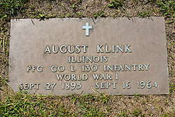 31 August 2017:   Veterans graves in Park Hill Cemetery in eastern McLean County.<br /> <br /> August Klink  Illinois  Private First Class Co L  130 Infantry  World War I  Sept 27 1895  Sept 16 1964