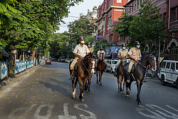 Mounted police patrols deserted S.N. Banerjee Road in Kolkata midst the 2nd phase of lockdown in India due to covid 19 pandemic. This is to curb the spread of Covid 19 in the country. The second phase is handled with more strict rules by the administration. Kolkata, West Bengal, India, April 19, 2020. Photo by Arindam Mukherjee/ABACAPRESS.COM