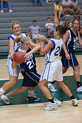 21 June 2008:  Brittany Hasselbring #21 gets trapped by Julia Robert #24 and Heather Pruemer #55. IBCA ( Illinois Coaches Basketball Association) Girls Class 1 & 2 All Star Game held at the Shirk Center on the Campus of Illinois Wesleyan University in Bloomington Illinois