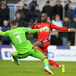 TELFORD COPYRIGHT MIKE SHERIDAN 12/1/2019 - /t10 sees his shot saved by Scott Loach during the Vanarama Conference North fixture between AFC Telford United and Hartlepool United at the Super Six Stadium.