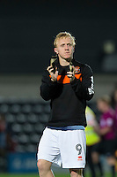 Blackpool's goal scorer Mark Cullen applauds the away fans at full time<br /> <br /> Photographer Craig Mercer/CameraSport<br /> <br /> Football - The EFL Sky Bet League Two - Barnet v Blackpool - Tuesday 16th August 2016 - The Hive Stadium - London<br /> <br /> World Copyright © 2016 CameraSport. All rights reserved. 43 Linden Ave. Countesthorpe. Leicester. England. LE8 5PG - Tel: +44 (0) 116 277 4147 - admin@camerasport.com - www.camerasport.com