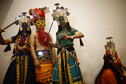 March 30, 2019 - Kathmandu, Nepal - Masked dancers dressed in traditional attire pose backstage during a cultural program of World Newah Organization's third convention in Kathmandu, Nepal on Saturday, March 30, 2019. (Credit Image: © Skanda Gautam/ZUMA Wire)
