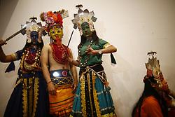 March 30, 2019 - Kathmandu, Nepal - Masked dancers dressed in traditional attire pose backstage during a cultural program of World Newah Organization's third convention in Kathmandu, Nepal on Saturday, March 30, 2019. (Credit Image: © Skanda Gautam/ZUMA Wire)