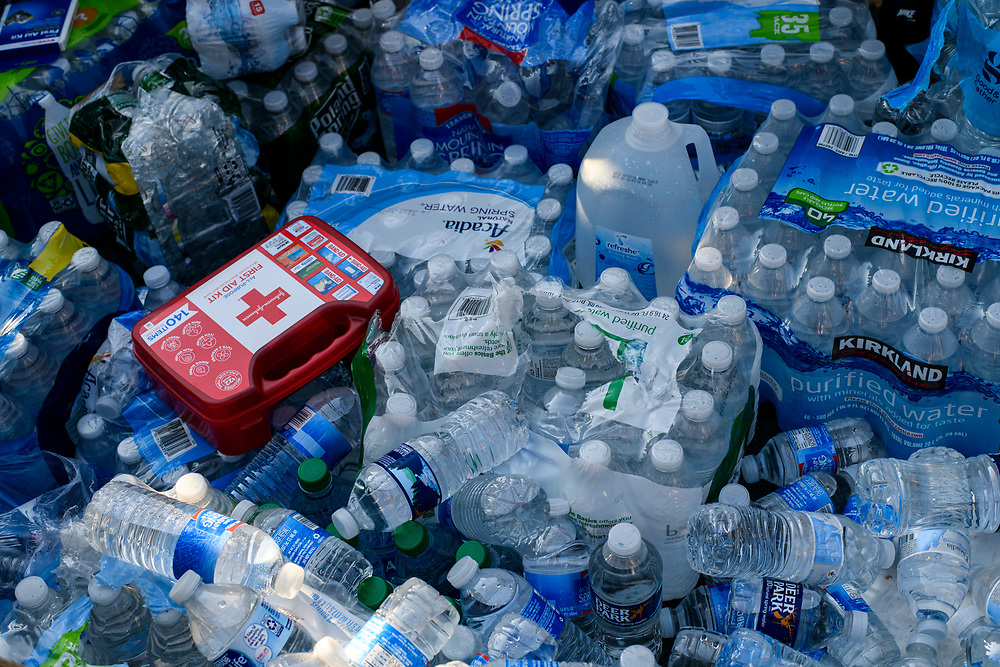 Water, and medial supplies sits at an aide station in lafayette park. Black Lives Matter protesters gathered near the white house to defy the curfew and protest the killing of George Floyd in Minneapolis.