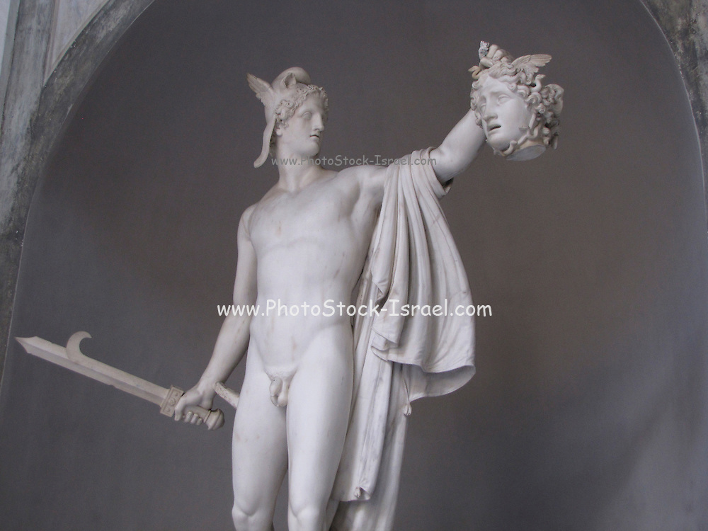 Italy, Rome, The Vatican Museum, Marble statue of Perseus holding severed head of Medusa by Antonio Canova
