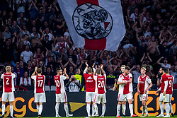 14-08-2018 NED: Champions League AFC Ajax - Standard de Liege, Amsterdam<br /> Third Qualifying Round,  3-0 victory Ajax during the UEFA Champions League match between Ajax v Standard Luik at the Johan Cruijff Arena / Ajax thank the support for the support