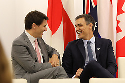 """Justin Trudeau (Prime Minister of Canada) and Pedro Sanchez (Prime Minister of Spain) - Side event organized by the Japanese Prime Minister, on the theme """"Promoting the place of women at work"""" at the Intex Osaka congress center at the G20 summit in Osaka, Japan, on June 29, 2019. Photo by Dominque Jacovides/Pool/ABACAPRESS.COM"""