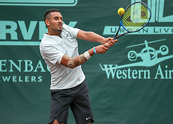 April 13, 2018 - Houston, TX, U.S. - HOUSTON, TX - APRIL 13:  Nick Kyrgios of Australia hits the return in the match against Ivo Karlovic of Croatia during the Quarterfinal round of the Men's Clay Court Championship on April 13, 2018 at River Oaks Country Club in Houston, Texas.  (Photo by Leslie Plaza Johnson/Icon Sportswire) (Credit Image: © Leslie Plaza Johnson/Icon SMI via ZUMA Press)
