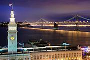 A night time scene of the Embarcadero In San Francisco, California