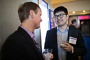 Victor Feng of Finnegan networks during the Bay Area Corporate Counsel Awards at The Westin San Francisco Airport in Millbrae, California, on March 18, 2019. (Stan Olszewski for Silicon Valley Business Journal)