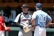07 May 2016: Louisville head coach Dan McDonnell (left) with UNC head coach Mike Fox (30). The University of North Carolina Tar Heels played the University of Louisville Cardinals in an NCAA Division I Men's baseball game at Boshamer Stadium in Chapel Hill, North Carolina.