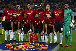 December 12, 2018 - Valencia, Spain - Line up Manchester (L-R) Romelu Lukaku, Marcos Rojo, Marouane Fellaini, Eric Bailly, Phil Jones, Paul Pogba, Sergio Romero, Andreas Pereira, Fred, Antonio Valencia, Juan Mata. during the match between Valencia CF and Manchester United at Mestalla Stadium in Valencia, Spain on December 12, 2018. (Credit Image: © Jose Breton/NurPhoto via ZUMA Press)