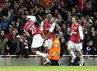 Photo: Olly Greenwood.<br />Arsenal v Tottenham Hotspur. Carling Cup Semi Final 2nd leg 31/01/2007. Arsenal's Emmanuel Adebayor celebrates scoring