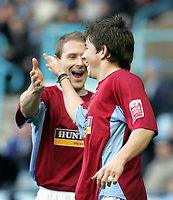 Photo: Paul Thomas. Digitalsport<br /> Coventry City v Burnley, Highfield Road, Coventry. Coca Cola Championship. 12/02/2005. Burnleys John Oster is congratulated by Ian Moore after scoring.