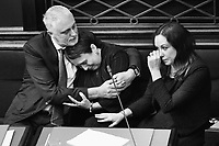 Labor MP Jaala Pulford is hugged by Gavin Jennings MP while crying after speaking about the loss of her daughter on November 2, 2017 in Melbourne, Australia. Victoria's lower house passed the historic voluntary euthanasia laws on Friday 20 October after 26 hours of debate. Victoria will be the first state in Australia to offer an assisted dying regime if the legislation is passed by the upper house.