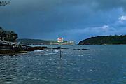 Danger Sign, Submerged Rocks. Balmoral Beach, Sydney Harbour, East Coast Australia