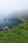 Rocky coastline in fog<br /> <br /> Grand Manan Island<br /> New Brunswick<br /> Canada