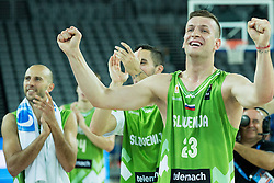 Alen Omic of Slovenia  celebrates after winning during basketball match between Slovenia and Georgia at Day 2 in Group C of FIBA Europe Eurobasket 2015, on September 6, 2015, in Arena Zagreb, Croatia. Photo by Vid Ponikvar / Sportida