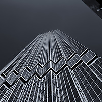 """""""IDS Tower Framed"""" mono<br /> <br /> Beautiful angled image of the IDS Tower in a monochrome!<br /> <br /> Cities and Skyscrapers by Rachel Cohen"""
