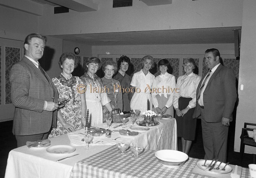 Calor Kosangas Housewife of the Year..1980-10-07.7th October 1980.07/10/1980.10-07-80..Photographed at Gresham Hotel, Dublin..Left to right:..JA Coffey (Merchandising manager).Nuala Kileen, .Grainne O'Driscoll.Dorothy Robinson.Margaret McCarthy.Liz Boyhan.Lillian Bradley.Maura Oppermann.PJ Byrne (Area manager).