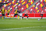 Brentford Forward Marcus Forss (#15) during the EFL Sky Bet Championship match between Brentford and Watford at Brentford Community Stadium, Brentford, England on 1 May 2021.
