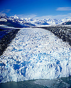 Aerial view of Harvard Glacier as if flows out of the Chugach Mountains in Chugach National Forest, Alaska