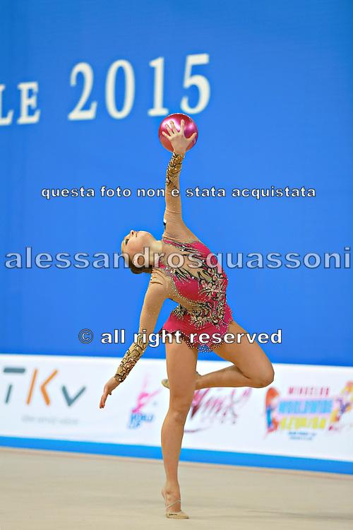 Bogdanova Olga during qualifying at ball in Pesaro World Cup 10 April 2015.<br /> Olga is an Estonian athlete born on december 24,1994 in Tallin.She has twin sister Viktoria has also represented Estonia in rhythmic gymnastics.