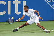 GAEL MONFILS hits a forehand during his second round match at the Citi Open at the Rock Creek Park Tennis Center in Washington, D.C.