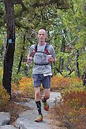 Kernhonkson, New York - Brian Sleigh runs along the trail at Minnewaska State Park Preserve during the Shawangunk Ridge Trail Run/Hike 32-mile race  on Sept. 20, 2014.