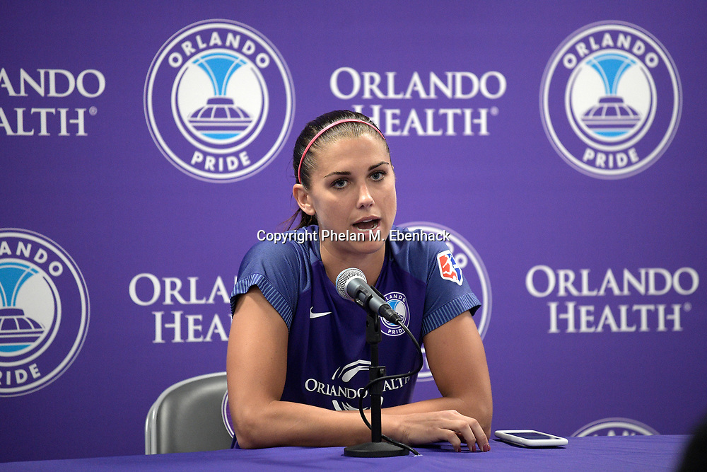 Orlando Pride's Alex Morgan answers a question during a post-game news conference after an NWSL soccer match against the Chicago Red Stars Saturday, Aug. 5, 2017, in Orlando, Fla. The teams tied 1-1. (Photo by Phelan M. Ebenhack)