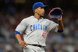 May 15, 2018 - Atlanta, GA, U.S. - ATLANTA, GA Ð MAY 15:  Cubs relief pitcher Pedro Strop (46) covers first base during the game between Atlanta and Chicago on May 15th, 2018 at SunTrust Park in Atlanta, GA. The Chicago Cubs beat the Atlanta Braves by a score of 3 Ð 2.  (Photo by Rich von Biberstein/Icon Sportswire) (Credit Image: © Rich Von Biberstein/Icon SMI via ZUMA Press)