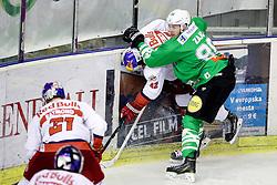 Miha Zajc of Ljubljana vs Layne Viveiros of RBS during ice hockey match between HDD Olimpija Ljubljana and EC Red Bull Salzburg in Erstebank league season 2016/17, on October 30, 2016 in Hala Tivoli, Ljubljana, Slovenia. Photo by Morgan Kristan / Sportida