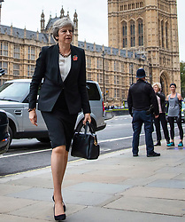 © Licensed to London News Pictures. 06/11/2018. London, UK. Prime Minister Theresa May arrives at St Margaret's Church in Westminster for the Parliamentary Armistice Service. Photo credit: Rob Pinney/LNP