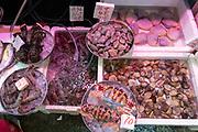 Seafood for sale at Wanchai Road, Hong Kong, China.