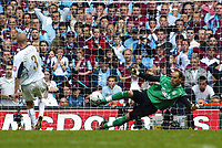 Photo: Chris Ratcliffe.<br />Liverpool v West Ham United. The FA Cup Final. 13/05/2006.<br />Paul Konchesky of West Ham misses as Jose Reina of Liverpool saves.