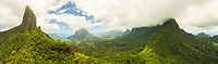 Panoramic aerial view of the mountainous interior of Moorea from the Col des 3 cocotiers viewpoint, Windward Islands, French Polynesia