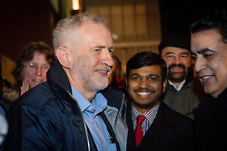 © Licensed to London News Pictures. 04/12/2015. London, UK. JEREMY CORBYN at an anti-Islamophobia rally and protest against racism and anti-muslim hate crime, outside the Finsbury Park Mosque in north London. The rally, organised by Finsbury Park Mosque, Stand Up To Racism and Stop The War Coalition follows an attempted arson attack on Finsbury Park Mosque last week and was attended by Labour Party leader and local MP for Islington North, Jeremy Corbyn. Photo credit : Vickie Flores/LNP