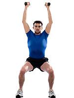 man doing workout squats weight training crouching on studio white isolated background