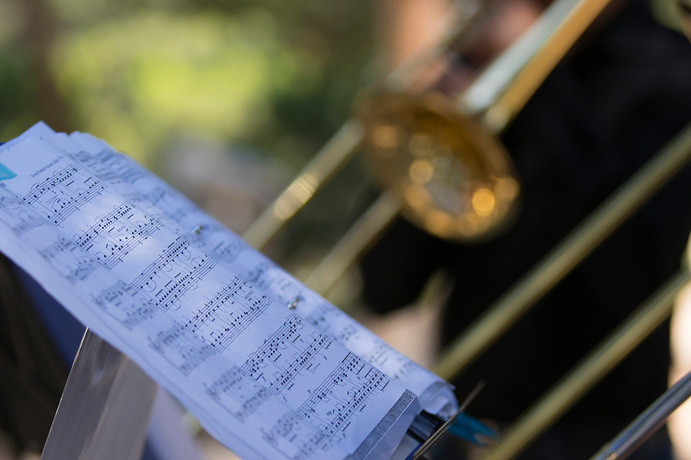 Members of Brass for Peace play in the grounds of Al-Quds University, occupied Palestinian territories. The group use music as a way of spreading messages of peace