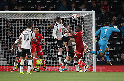 James McKeown of Grimsby Town (R) heads at goal - Mandatory by-line: Jack Phillips/JMP - 09/08/2016 - FOOTBALL - iPro Stadium - Derby, England - Derby County v Grimsby Town - EFL Cup First Round