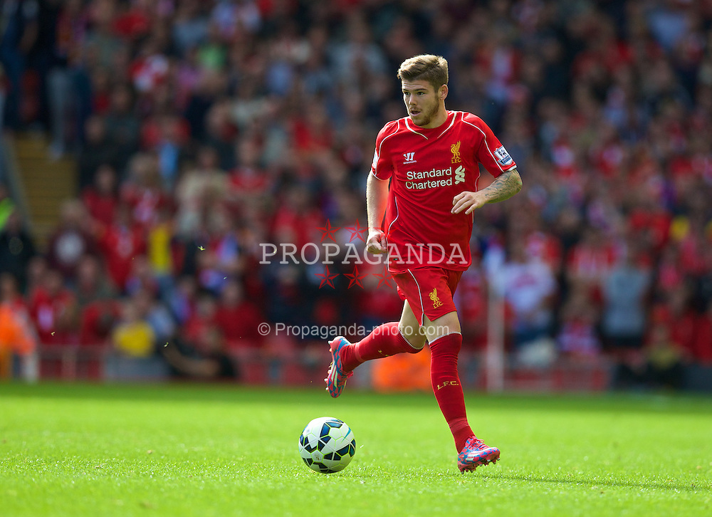 LIVERPOOL, ENGLAND - Saturday, September 27, 2014: Liverpool's Alberto Moreno in action against Everton during the Premier League match at Anfield. (Pic by David Rawcliffe/Propaganda)